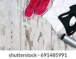 still life of sneakers ... | Shutterstock . vector #691485991