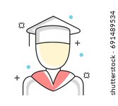 graduate education line icons.... | Shutterstock .eps vector #691489534