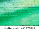 Green Brick Wall As Background...