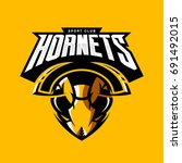 furious hornet head athletic...   Shutterstock .eps vector #691492015