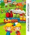 cartoon train scene with happy... | Shutterstock . vector #691492264