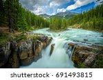 upper sunwapta falls in jasper... | Shutterstock . vector #691493815