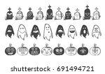horror doodle avatars in black...