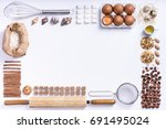baking or cooking background... | Shutterstock . vector #691495024