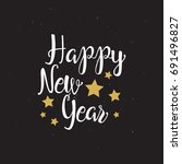 happy new year. white and gold... | Shutterstock .eps vector #691496827