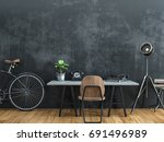 black room decorated in vintage ... | Shutterstock . vector #691496989