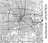 houston monochrome vector map.... | Shutterstock .eps vector #691497814