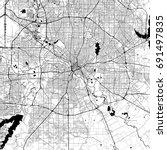 dallas monochrome vector map.... | Shutterstock .eps vector #691497835
