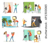 photo studio set  photographers ... | Shutterstock .eps vector #691503085
