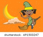 Halloween witches fly with broom stick among the moon and the stars cartoon