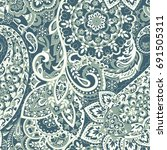 paisley seamless indian pattern.... | Shutterstock .eps vector #691505311