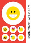 flat icon emoji set of pleasant ... | Shutterstock .eps vector #691511671