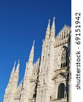 The Duomo, gothic cathedral of Milan, facade detail, Lombardy, Italy - stock photo