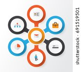 job flat icons set. collection... | Shutterstock .eps vector #691519501