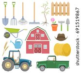 set of colorful farming... | Shutterstock .eps vector #691519867
