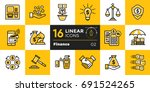 vector linear icons set of... | Shutterstock .eps vector #691524265