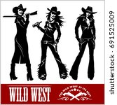 silhouettes of western cowgirls.... | Shutterstock .eps vector #691525009