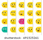 set of emoticons or emoji.... | Shutterstock . vector #691525261