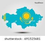 map of kazakhstan | Shutterstock .eps vector #691525681