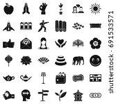 yoga meditation icons set.... | Shutterstock .eps vector #691533571