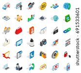 www spam icons set. isometric... | Shutterstock .eps vector #691533601