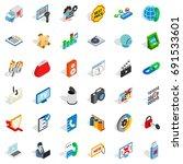 www spam icons set. isometric... | Shutterstock .eps vector #691533601
