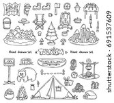 vector set with hand drawn... | Shutterstock .eps vector #691537609