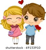 Illustration of a Couple Holding Hands While Walking - stock vector