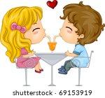 Illustration of Kids Sharing a Drink - stock vector