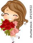 Illustration of a Girl Carrying a Bouquet of Flowers - stock vector