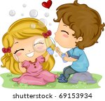 Illustration of Kids Playing with Bubbles - stock vector