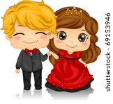 Illustration of a Couple Attending a Valentine Ball - stock vector