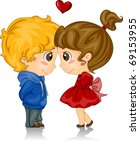 Illustration of Kids with Foreheads Touching - stock vector
