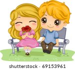 Illustration of a Couple on a Date - stock vector
