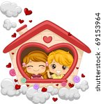 Illustration of Kids in a Playhouse - stock vector