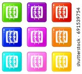 meat shashlik icons of 9 color... | Shutterstock . vector #691539754