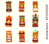 tiki mask icon set. vector... | Shutterstock .eps vector #691545265