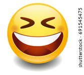 emoji laugh smiley face vector... | Shutterstock .eps vector #691545475
