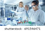 team of research scientists... | Shutterstock . vector #691546471