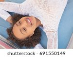 over head beauty portrait of...   Shutterstock . vector #691550149