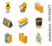 set of office objects isometric ... | Shutterstock .eps vector #691553677