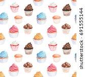 watercolor  cupcakes seamless... | Shutterstock . vector #691555144