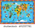 world  animals plasticine... | Shutterstock . vector #691557781