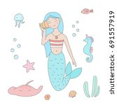 mermaid listens to music from... | Shutterstock .eps vector #691557919