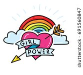 girl power sticker pin with... | Shutterstock .eps vector #691560847