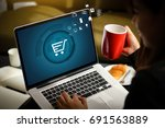 business people use technology... | Shutterstock . vector #691563889