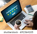 online reviews evaluation time... | Shutterstock . vector #691564105