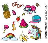 set of fancy stickers summer...   Shutterstock .eps vector #691564627