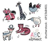animals alphabet f   k for... | Shutterstock .eps vector #691568401