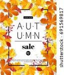 autumn sale. fall season sale... | Shutterstock .eps vector #691569817